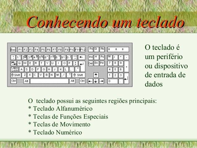 Conhecendo um tecladoConhecendo um teclado O teclado possui as seguintes regiões principais: * Teclado Alfanumérico * Tecl...