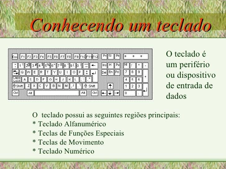 Conhecendo um teclado O  teclado possui as seguintes regiões principais: * Teclado Alfanumérico * Teclas de Funções Especi...