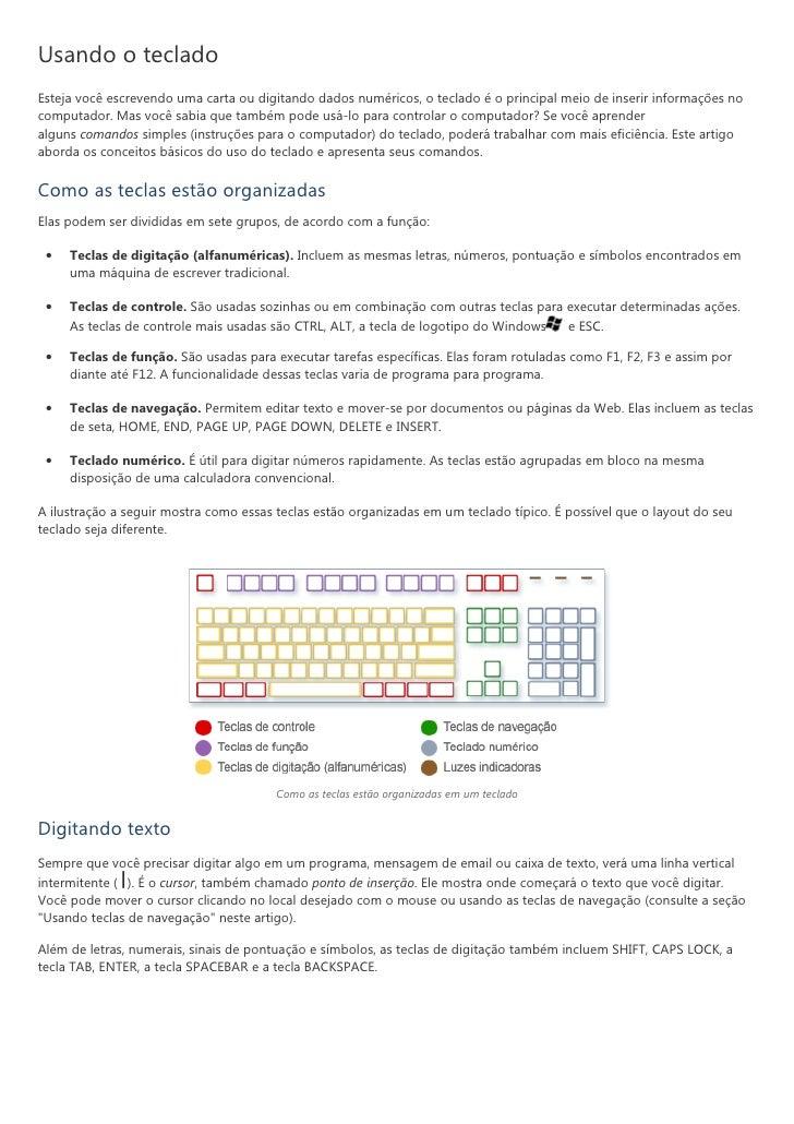 Usando o tecladoEsteja você escrevendo uma carta ou digitando dados numéricos, o teclado é o principal meio de inserir inf...
