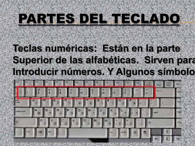PARTES DEL TECLADOTeclas numéricas: Están en la parteSuperior de las alfabéticas. Sirven paraIntroducir números. Y Algunos...