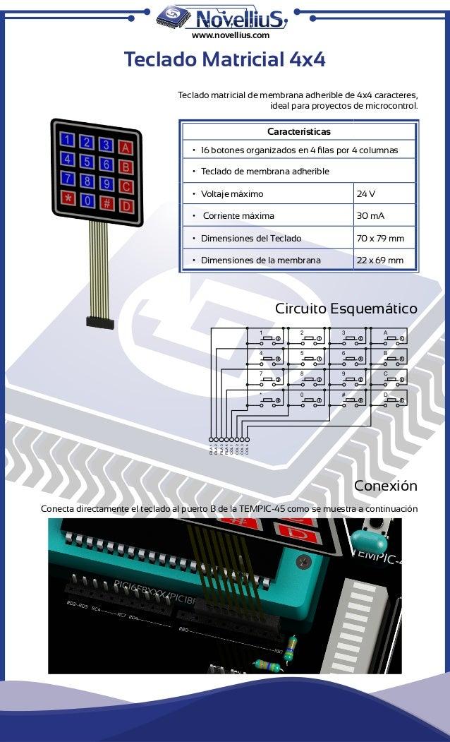 www.novellius.com  Teclado Matricial 4x4  Teclado matricial de membrana adherible de 4x4 caracteres,  ideal para proyectos...