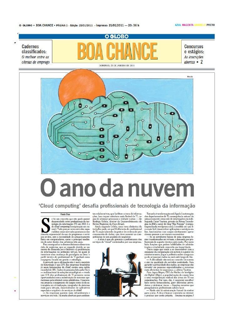 Clipping Tecla O Globo JAN 2011