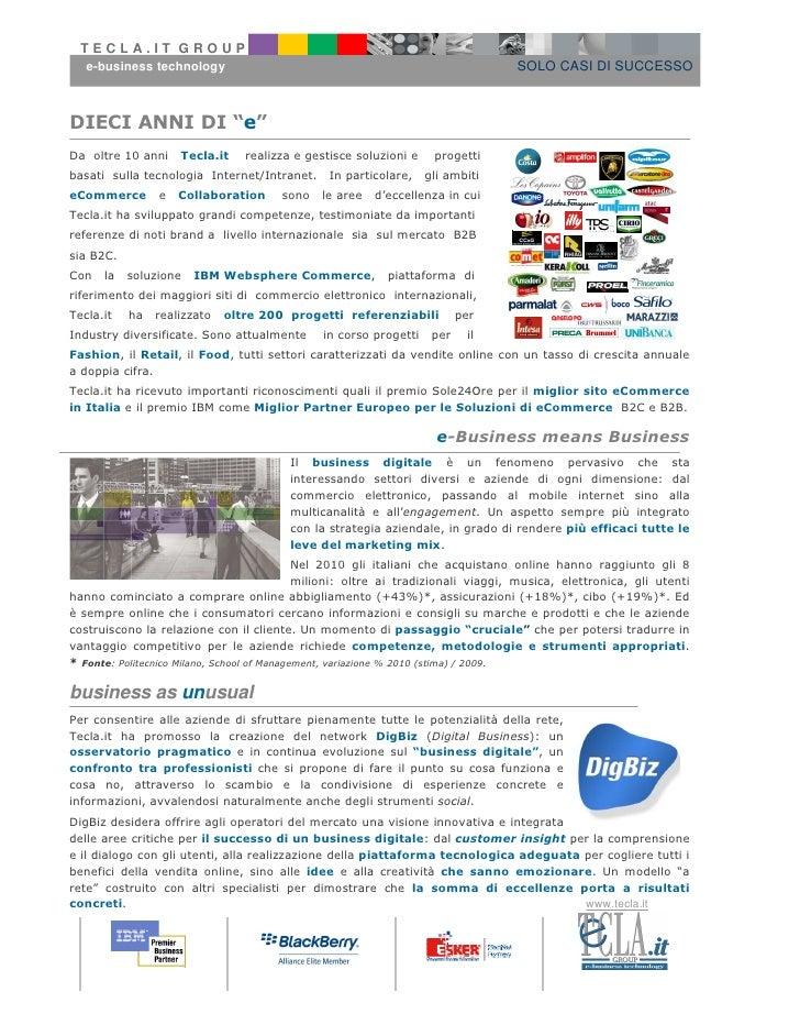 TECLA.IT GROUP   e-business technology                                                           SOLO CASI DI SUCCESSODIEC...