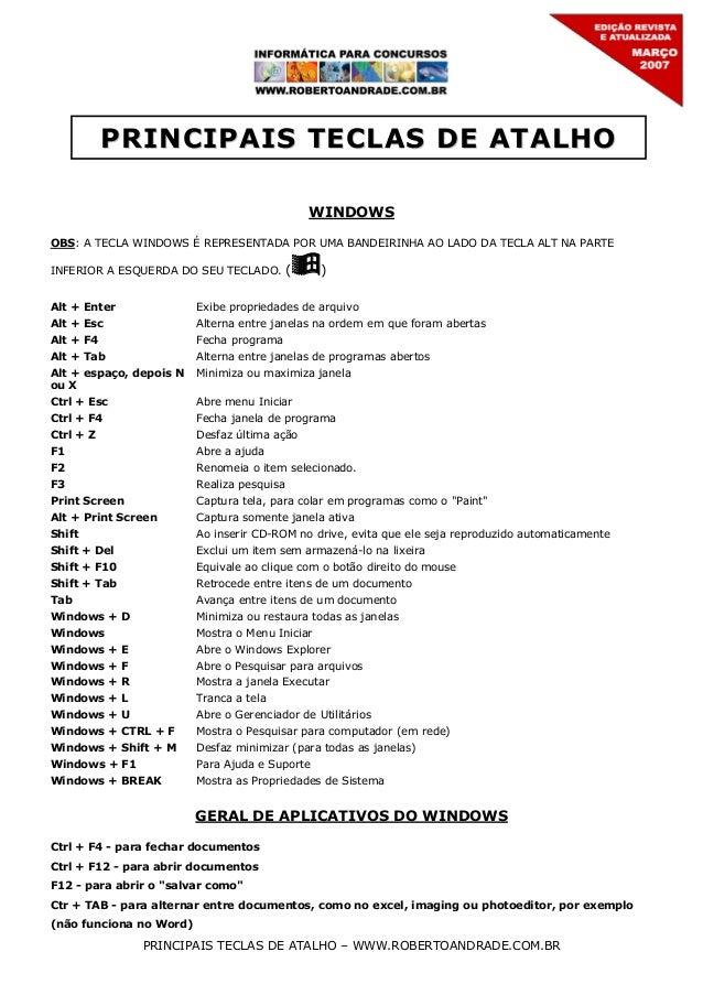 PRINCIPAIS TECLAS DE ATALHO WINDOWS OBS: A TECLA WINDOWS É REPRESENTADA POR UMA BANDEIRINHA AO LADO DA TECLA ALT NA PARTE ...