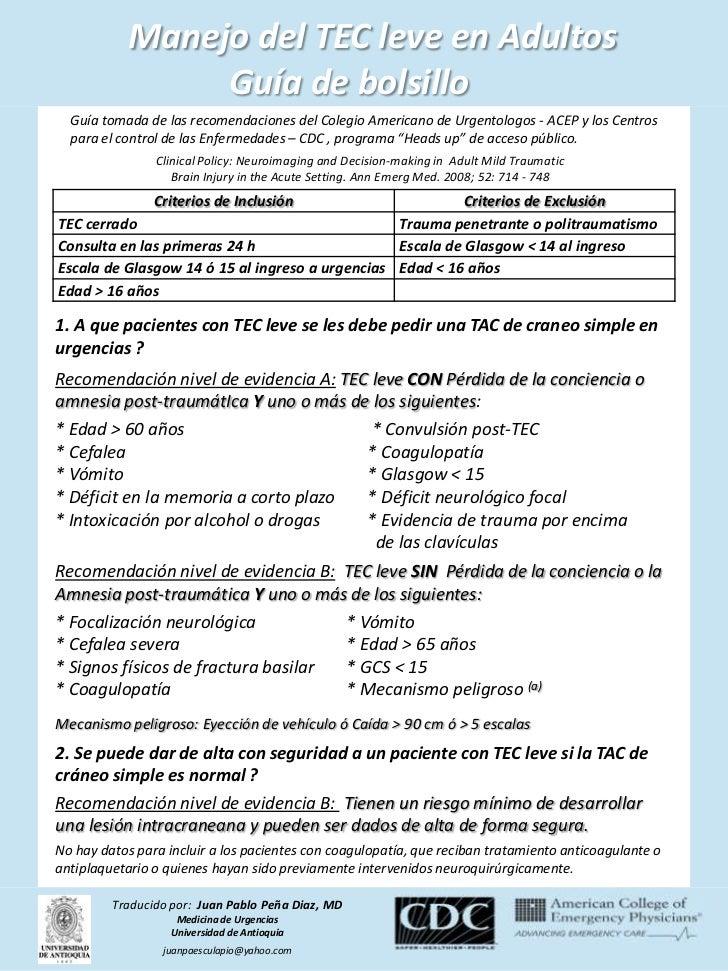 Manejo del TEC leve en Adultos                 Guía de bolsillo  Guía tomada de las recomendaciones del Colegio Americano ...