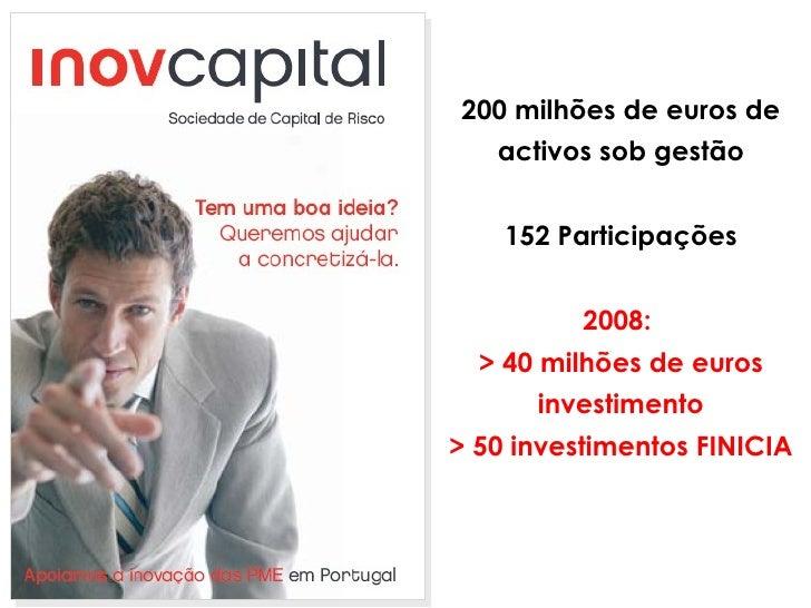 200 milhões de euros de activos sob gestão 152 Participações 2008:  > 40 milhões de euros investimento > 50 investimentos ...