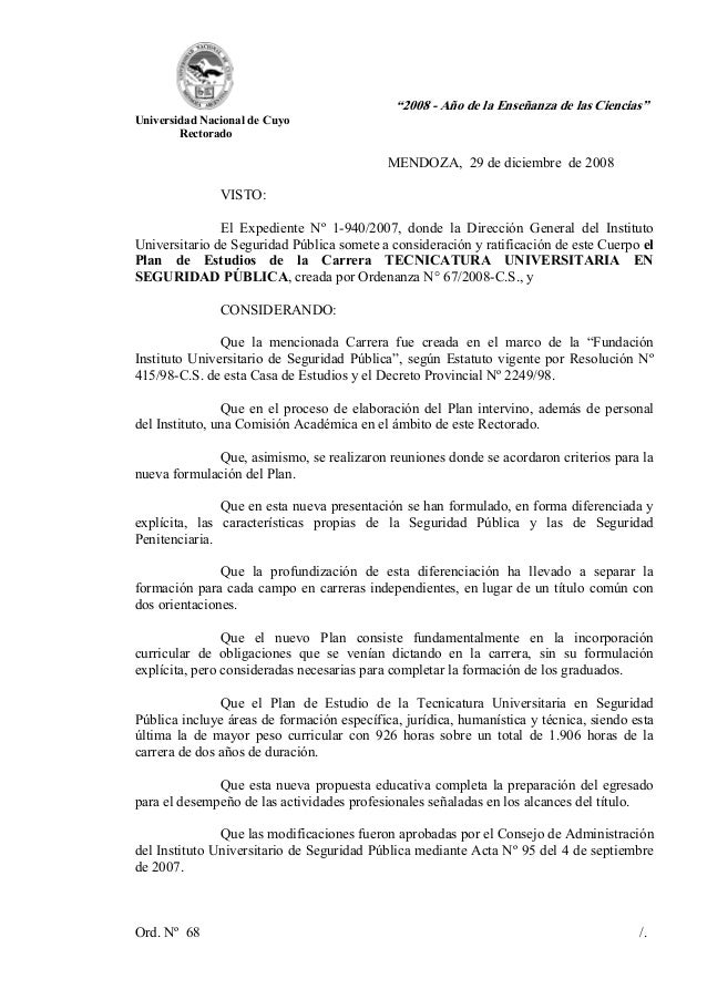 """""""2008 - Año de la Enseñanza de las Ciencias""""Universidad Nacional de CuyoRectoradoMENDOZA, 29 de diciembre de 2008VISTO:El ..."""