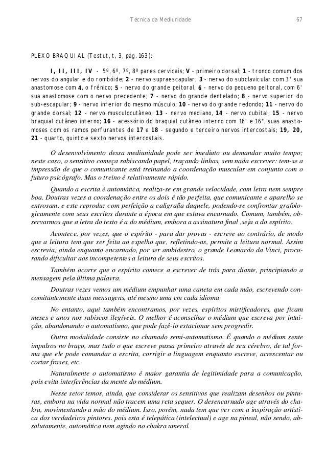 Técnica da Mediunidade 67  PLEXO BRAQUIAL (Testut, t, 3, pág. 163):  I, II, III, IV - 5º, 6º, 7º, 8º pares cervicais; V - ...