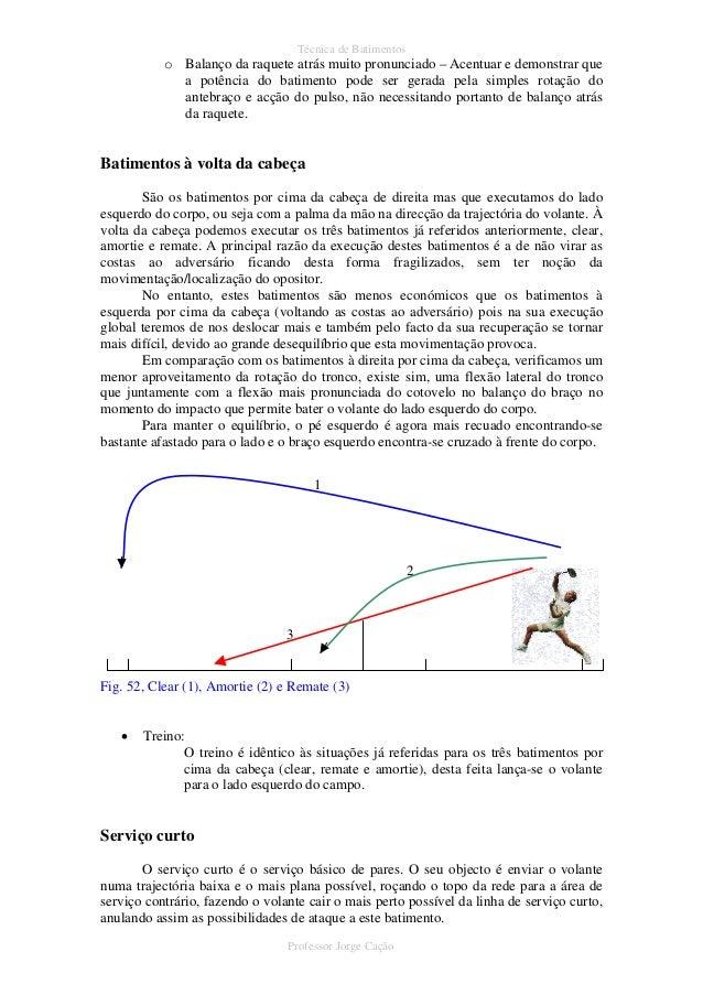 6abe4149f Professor Jorge Cação  44. Técnica de Batimentos o Balanço da raquete ...