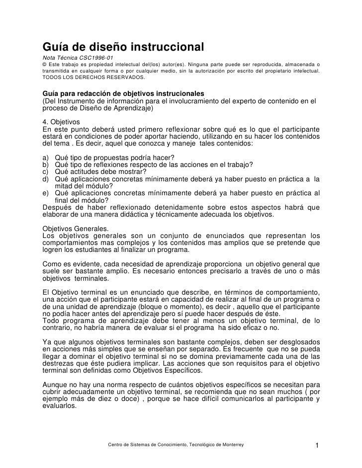 Guía de diseño instruccional Nota Técnica CSC1996-01 © Este trabajo es propiedad intelectual del(los) autor(es). Ninguna p...