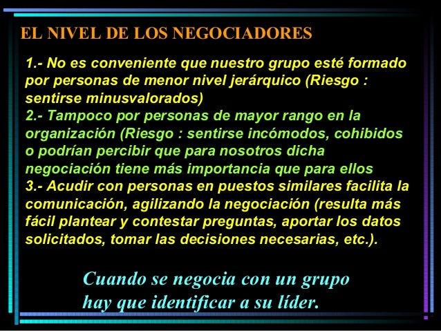 1.- No es conveniente que nuestro grupo esté formado por personas de menor nivel jerárquico (Riesgo : sentirse minusvalora...