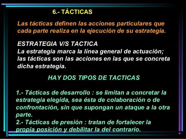 6.- TÁCTICAS Las tácticas definen las acciones particulares que cada parte realiza en la ejecución de su estrategia. HAY D...