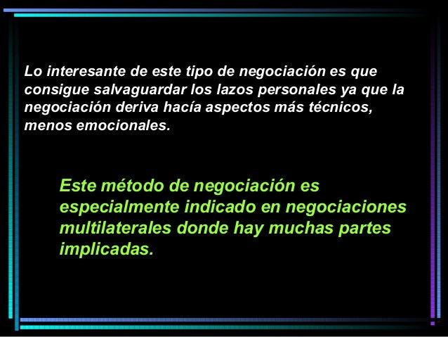 Este método de negociación es especialmente indicado en negociaciones multilaterales donde hay muchas partes implicadas. L...