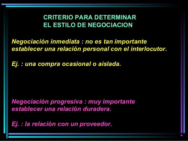 Negociación inmediata : no es tan importante establecer una relación personal con el interlocutor. Ej. : una compra ocasio...