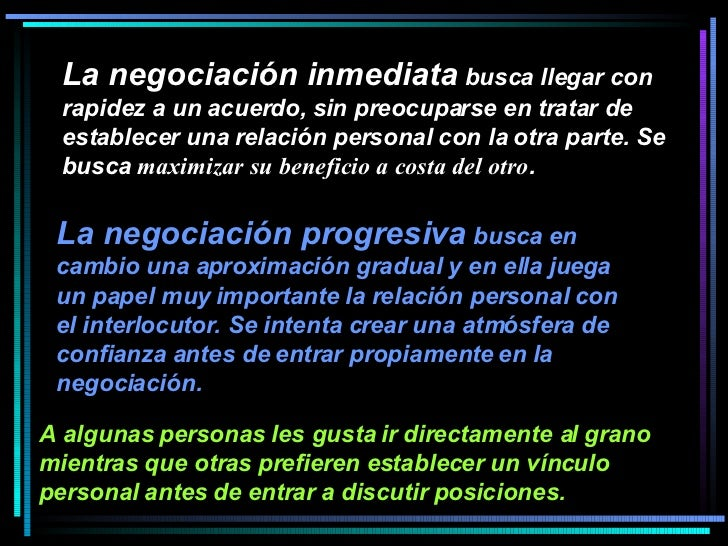 La negociación inmediata  busca llegar con rapidez a un acuerdo, sin preocuparse en tratar de establecer una relación pers...