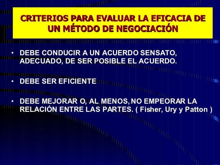 CRITERIOS PARA EVALUAR LA EFICACIA DE UN MÉTODO DE NEGOCIACIÓN <ul><li>DEBE CONDUCIR A UN ACUERDO SENSATO, ADECUADO, DE SE...