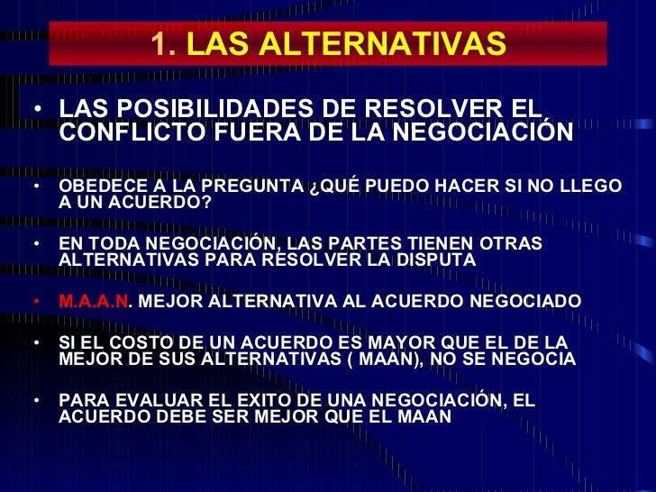 1.  LAS ALTERNATIVAS <ul><li>LAS POSIBILIDADES DE RESOLVER EL CONFLICTO FUERA DE LA NEGOCIACIÓN </li></ul><ul><li>OBEDECE ...