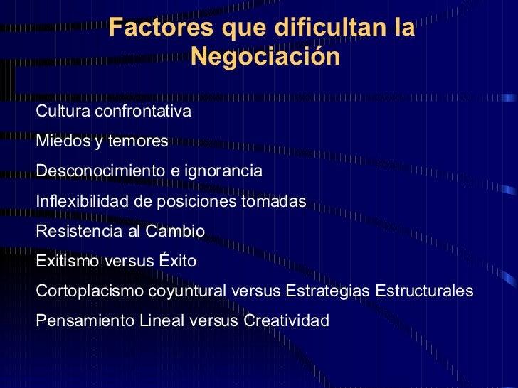 Factores que dificultan la  Negociación Cultura confrontativa Miedos y temores Desconocimiento e ignorancia Inflexibilidad...