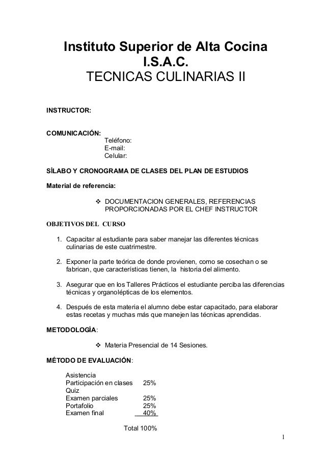 Tecnicas culinarias ii jr chef sabatino 2013
