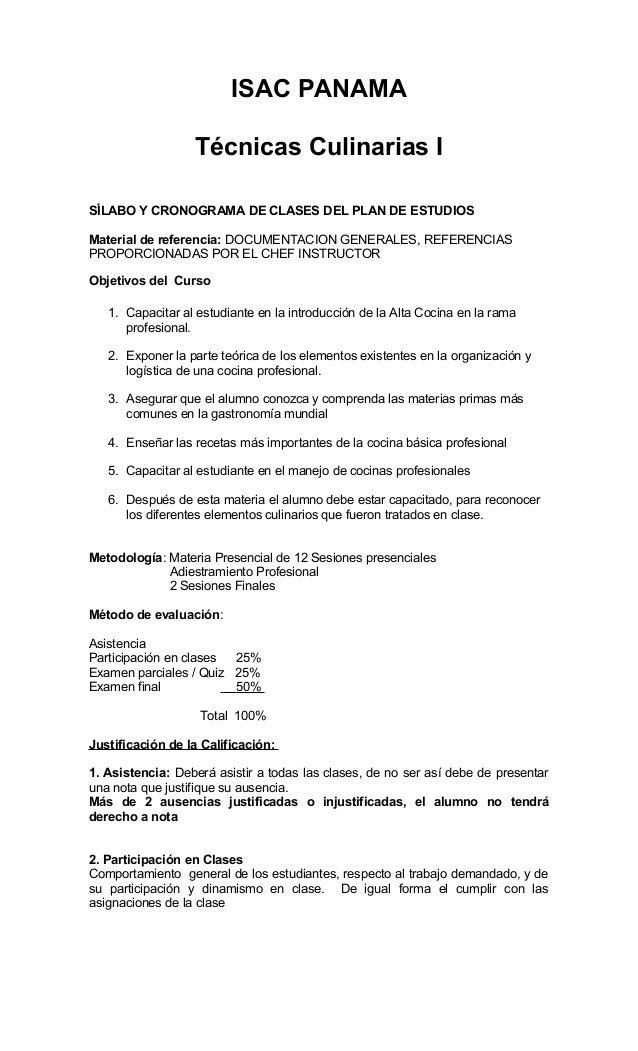 ISAC PANAMA Técnicas Culinarias I SÍLABO Y CRONOGRAMA DE CLASES DEL PLAN DE ESTUDIOS Material de referencia: DOCUMENTACION...