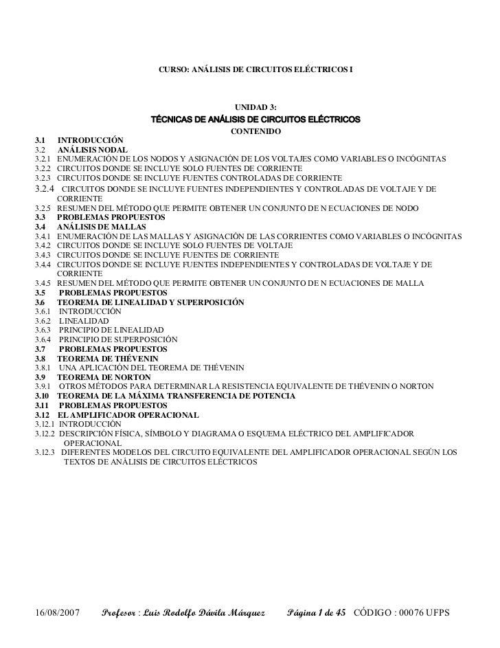 CURSO: ANÁLISIS DE CIRCUITOS ELÉCTRICOS I                                           UNIDAD 3:                         TÉCN...