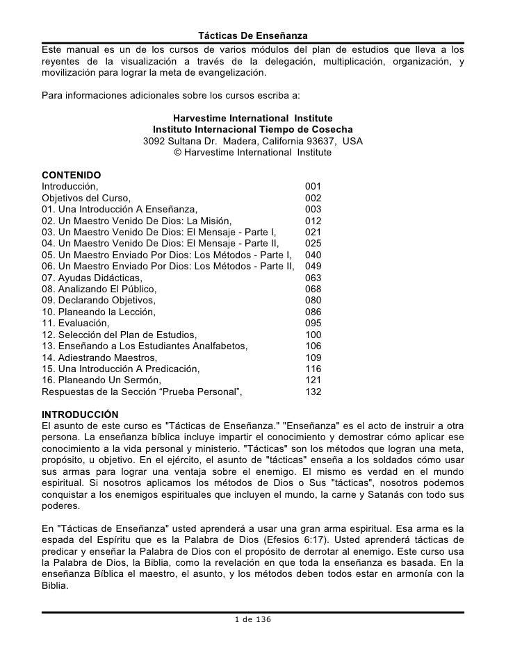 Tácticas De Enseñanza Este manual es un de los cursos de varios módulos del plan de estudios que lleva a los reyentes de l...
