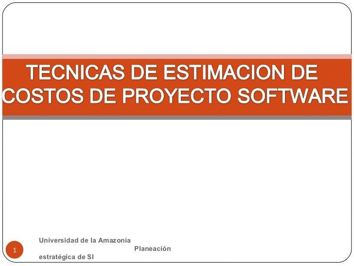 Universidad de la Amazonia  Planeación estratégica de SI