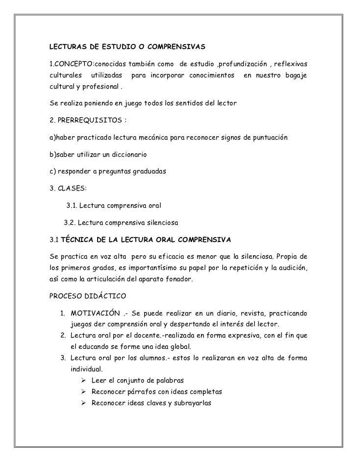 LECTURAS DE ESTUDIO O COMPRENSIVAS<br />1.CONCEPTO:conocidas también como  de estudio ,profundización , reflexivas cultura...