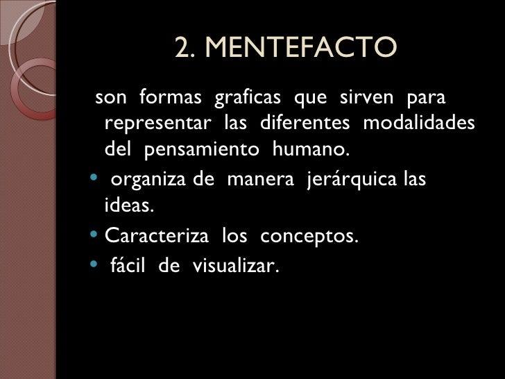 2. MENTEFACTO <ul><li>son  formas  graficas  que  sirven  para  representar  las  diferentes  modalidades  del  pensamient...