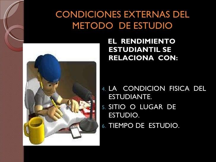 CONDICIONES EXTERNAS DEL METODO  DE ESTUDIO <ul><li>EL  RENDIMIENTO ESTUDIANTIL SE  RELACIONA  CON: </li></ul><ul><li>LA  ...
