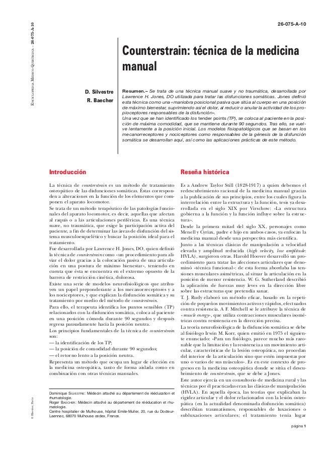 ENCICLOPEDIA MÉDICO-QUIRÚRGICA – 26-075-A-10  26-075-A-10  Counterstrain: técnica de la medicina manual D. Silvestre R. Ba...