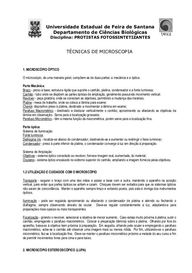 Universidade Estadual de Feira de Santana Departamento de Ciências Biológicas Disciplina: PROTISTAS FOTOSSINTETIZANTES TÉC...