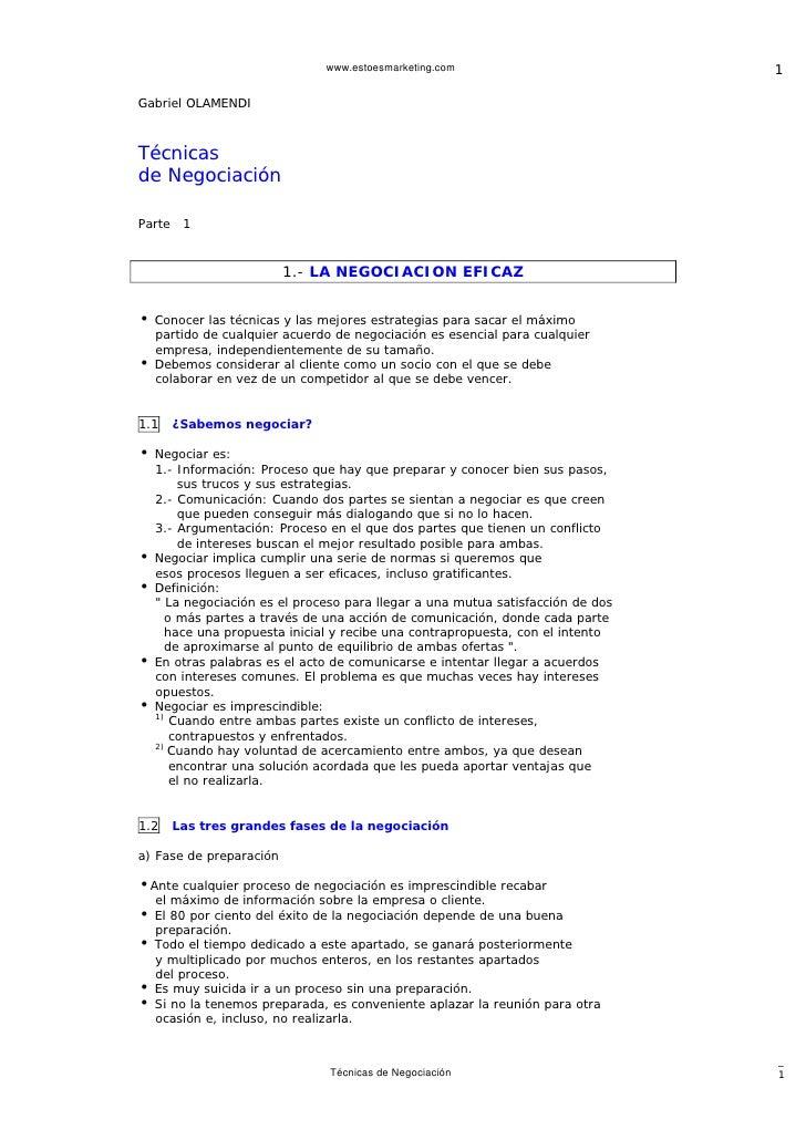www.estoesmarketing.com                          1  Gabriel OLAMENDI    Técnicas de Negociación  Parte    1               ...