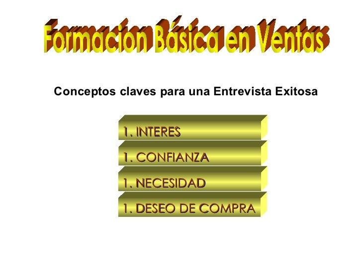 Formacion Básica en Ventas Conceptos claves para una Entrevista Exitosa <ul><li>INTERES </li></ul><ul><li>CONFIANZA </li><...