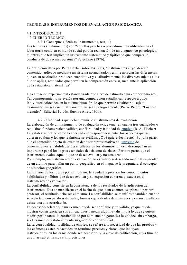 TECNICAS E INSTRUMENTOS DE EVALUACION PSICOLOGICA4.1 INTRODUCCION4.2 CUERPO TEORICO       4.2.1 Conceptos (técnicas, instr...