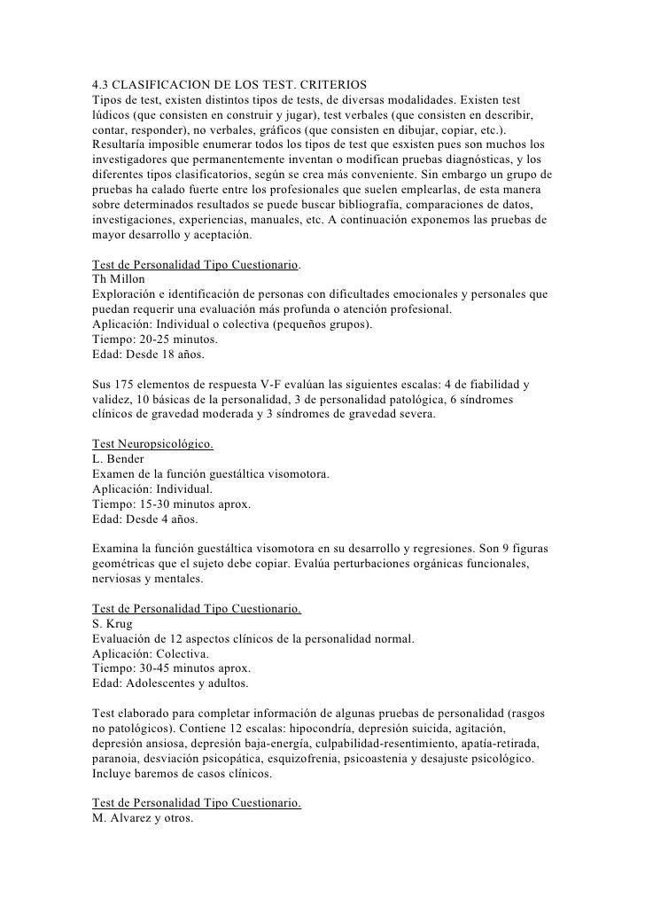 4.3 CLASIFICACION DE LOS TEST. CRITERIOSTipos de test, existen distintos tipos de tests, de diversas modalidades. Existen ...