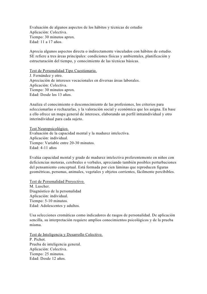 Evaluación de algunos aspectos de los hábitos y técnicas de estudioAplicación: Colectiva.Tiempo: 30 minutos aprox.Edad: 11...