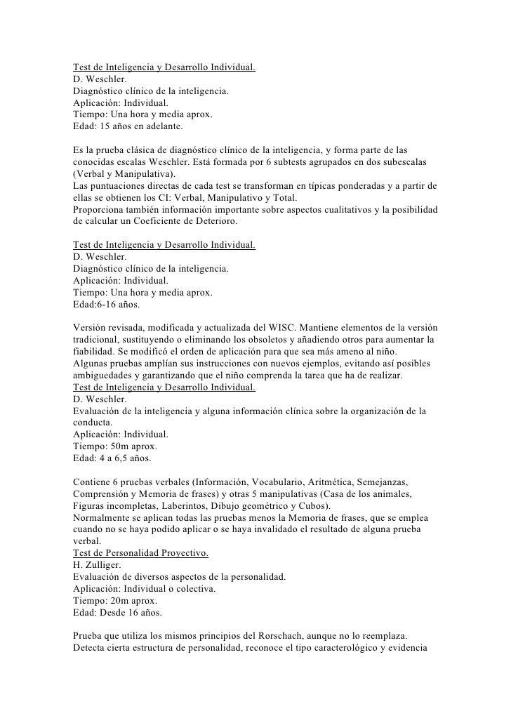 Test de Inteligencia y Desarrollo Individual.D. Weschler.Diagnóstico clínico de la inteligencia.Aplicación: Individual.Tie...