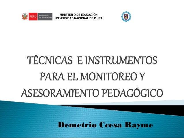 MINISTERIO DE EDUCACIÓN  UNIVERSIDAD NACIONAL DE PIURA  Demetrio Ccesa Rayme