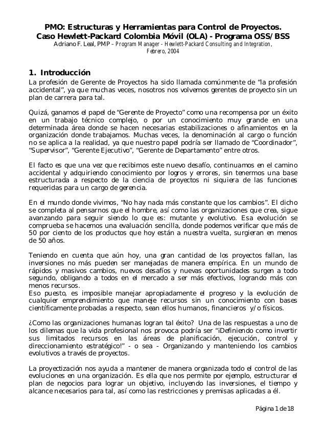 Página 1 de 18 PMO: Estructuras y Herramientas para Control de Proyectos. Caso Hewlett-Packard Colombia Móvil (OLA) - Prog...
