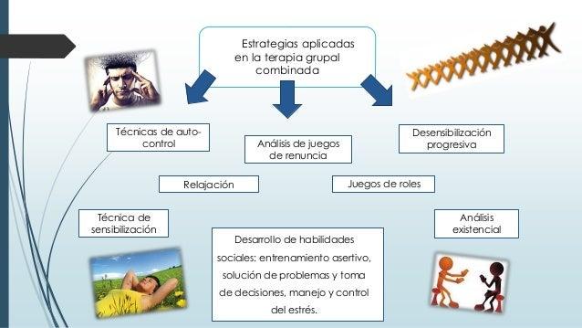 Estrategias aplicadas en la terapia grupal combinada Desarrollo de habilidades sociales: entrenamiento asertivo, solución ...