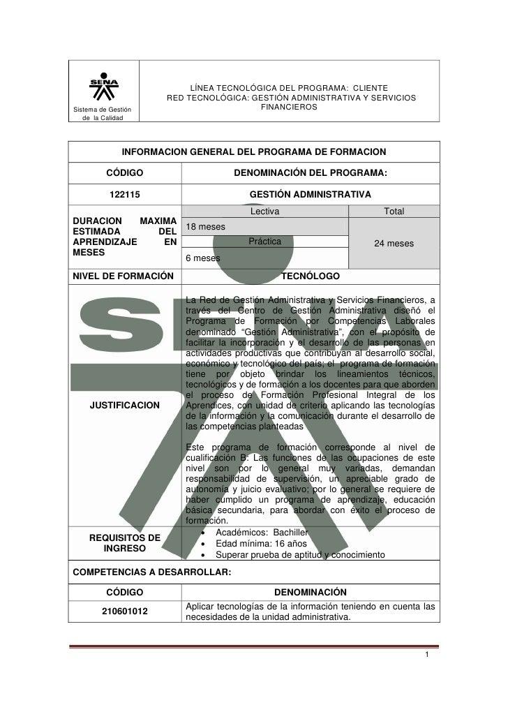 LÍNEA TECNOLÓGICA DEL PROGRAMA: CLIENTE                      RED TECNOLÓGICA: GESTIÓN ADMINISTRATIVA Y SERVICIOSSistema de...
