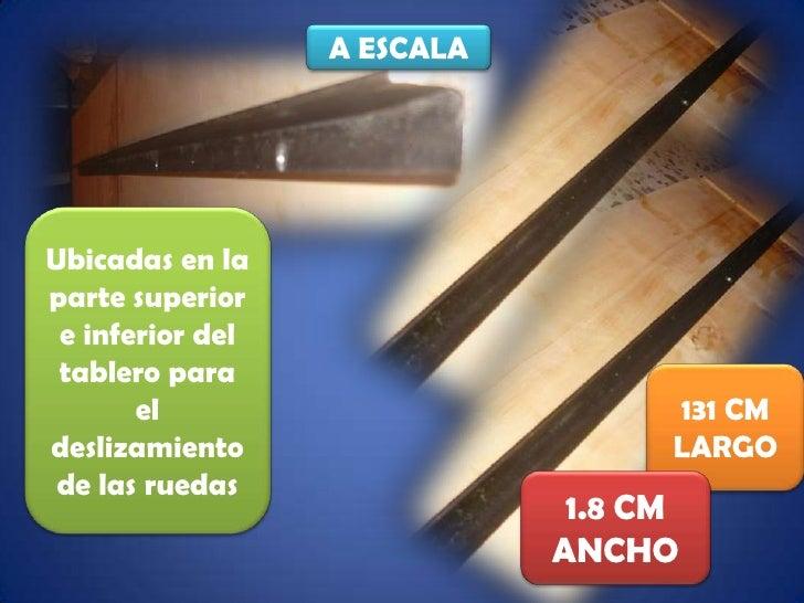 A ESCALA<br />Ubicadas en la parte superior e inferior del tablero para el deslizamiento de las ruedas<br />131 CM<br />LA...