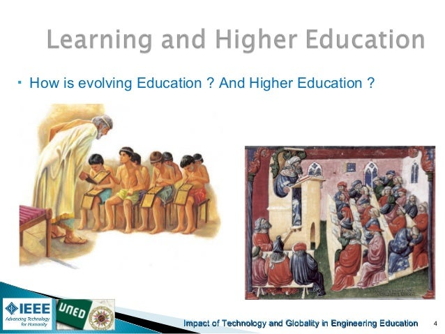 the impact of technology in learning and education • education in its general sense is a form of learning • in which the knowledge, skills, and habits of a group of people are transferred from one generation to the next through teaching, training, or research.