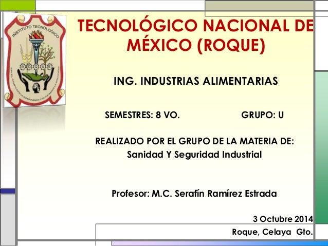 TECNOLÓGICO NACIONAL DE  MÉXICO (ROQUE)  ING. INDUSTRIAS ALIMENTARIAS  SEMESTRES: 8 VO. GRUPO: U  REALIZADO POR EL GRUPO D...