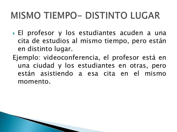  El profesor y los estudiantes acuden a una  cita de estudios al mismo tiempo, pero están  en distinto lugar.Ejemplo: vid...