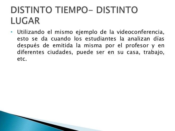 • Utilizando el mismo ejemplo de la videoconferencia,  esto se da cuando los estudiantes la analizan días  después de emit...