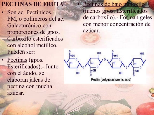 FORMACION DEL GEL DE PECTINA. • Moléculas de pectinas son hidrofílicas, la función del agua en el gel es disolver el ácido...