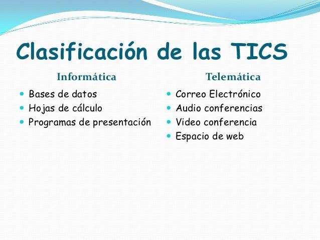 Clasificación de las TICS Informática  Telemática   Bases de datos   Correo Electrónico   Hojas de cálculo   Audio con...