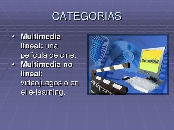 CATEGORIAS<br /><ul><li>Multimedia lineal: una película de cine.